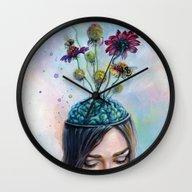 Wall Clock featuring Pollination by Tanya Shatseva