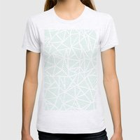 Geo Lines Mint Womens Fitted Tee Ash Grey SMALL