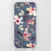 butterfly iPhone & iPod Cases featuring Butterflies and Hibiscus Flowers - a painted pattern by micklyn