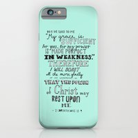 iPhone Cases featuring 2 Corinthians 12:9 by Meredith Cox