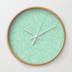 Geo Lines Mint Wall Clock