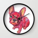 Raspberry frenchie Wall Clock
