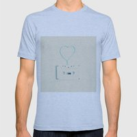 ANALOG zine, Retro white music cassette and blue heart shaped tape on beige background Mens Fitted Tee Athletic Blue SMALL
