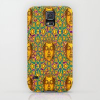 Galaxy S5 Cases featuring Friends Are Golden Teal- Pink-Blue Art Deco Design by sharlesart