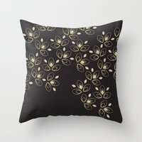 Dark Blossoms Throw Pillow