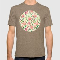 Pastel Roses in Blush Pink and Cream  Mens Fitted Tee Tri-Coffee SMALL