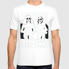 Sitting Around SMALL Mens Fitted Tee White