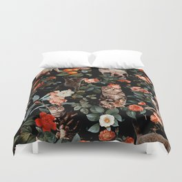 Duvet Cover - Cat and Floral Pattern II - Burcu Korkmazyurek