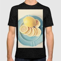 Lemons on Blue Mens Fitted Tee Tri-Black SMALL