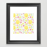 Watercolor floral pattern with doily Framed Art Print