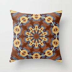 Blue Wood Kaleido Pattern Throw Pillow