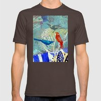 Birds in the backyard. Mens Fitted Tee Brown SMALL