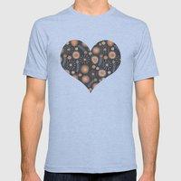 Whimsical flowers in orange Mens Fitted Tee Athletic Blue SMALL