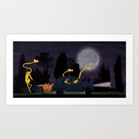 Voyage by night II (animal party) Art Print