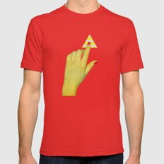 Press The Button Mens Fitted Tee Red SMALL