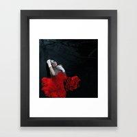 Rose Red, Ink Blue Framed Art Print