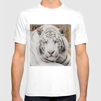 WHITE TIGER GAZE Mens Fitted Tee White SMALL