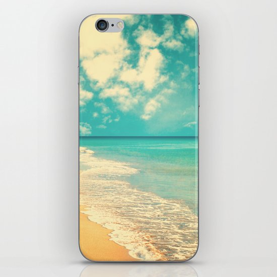 Waves of the sea (retro beach and blue sky) iPhone & iPod Skin