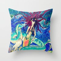 The Mermaid And Her Drag… Throw Pillow
