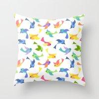Ditsy birds Throw Pillow