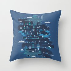 Land of the Blue Mountains Throw Pillow