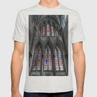 Rochester Cathedral Stained Glass Windows Mens Fitted Tee Silver SMALL