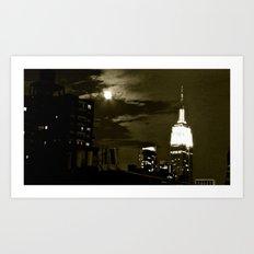 NYC under the moon Art Print
