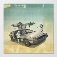 Lost, searching for the DeathStarr _ 2 Stormtrooopers in a DeLorean  Canvas Print