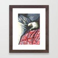 siamese on rumpled bed Framed Art Print