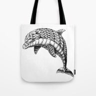 Tote Bag featuring Ornate Dolphin by BIOWORKZ