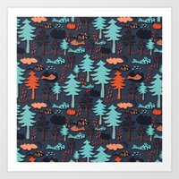 Fishes In The Wood Art Print