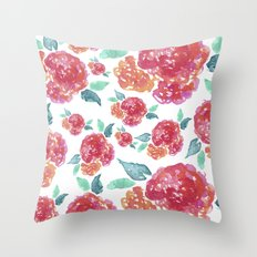 Pastel Spring Flowers Watercolor Throw Pillow