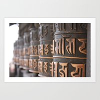Swayambhunath Prayer Wheels Art Print