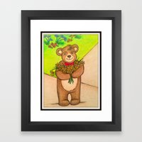 FLOWERS FOR YOU - Adorable Little Teddy Bear Flowers Floral Cute Colorful Original Illustration Framed Art Print