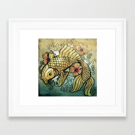 Koi Fish and Hibiscus  Framed Art Print