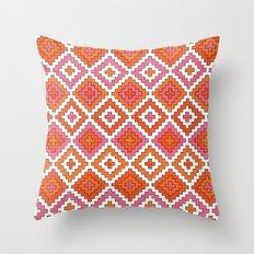 Macrame Red Throw Pillow