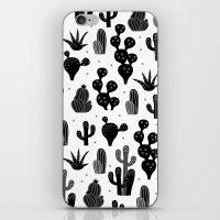 Cactus garden black and white iPhone & iPod Skin