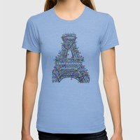 Paris Eiffel Tower Holiday Lights Multi Womens Fitted Tee Athletic Blue SMALL