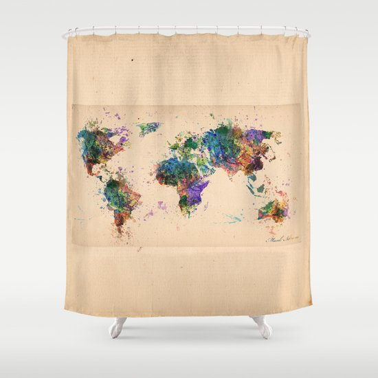 World Map Shower Curtain By Mark Ashkenazi