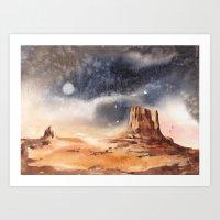 Desert painting, rocks, surreal landscape, landscape painting, Arizona, Western art, West Mitten  Art Print