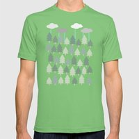 Pacific Northwest Tree and Rain Scene - Portland, PDX, Seattle, Washington, Oregon Mens Fitted Tee Grass SMALL