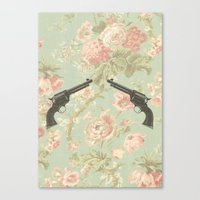 Guns & Flowers Canvas Print
