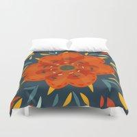 Decorative Whimsical Orange Flower Duvet Cover