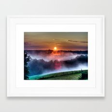 Colorful Misty Hills Sunrise Framed Art Print