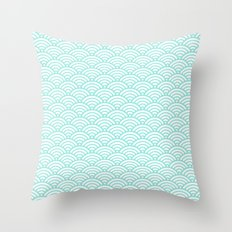 Wave Tiffany Blue Throw Pillow