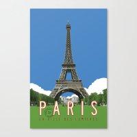 Paris Travel Poster - Vintage Style Canvas Print