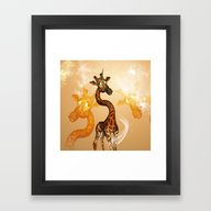 Framed Art Print featuring The Unicorn Giraffe by Nicky2342