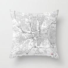 Columbus Map Line Throw Pillow
