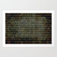 The Binary Code - Dark … Art Print