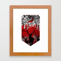 Red moon Framed Art Print